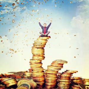 happy man and money rain